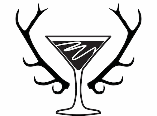 Martini glass with decorative antlers